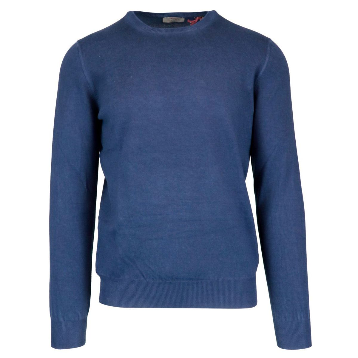 Crew neck sweater in solid color with ribbed profiles Blue Gran Sasso