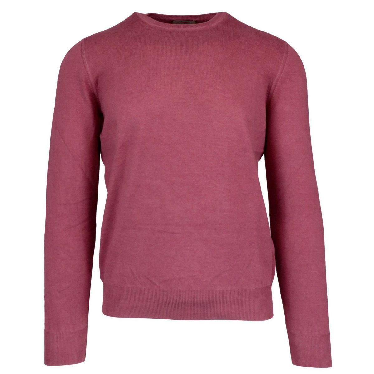 Crew neck sweater in solid color with ribbed profiles Antique pink Gran Sasso