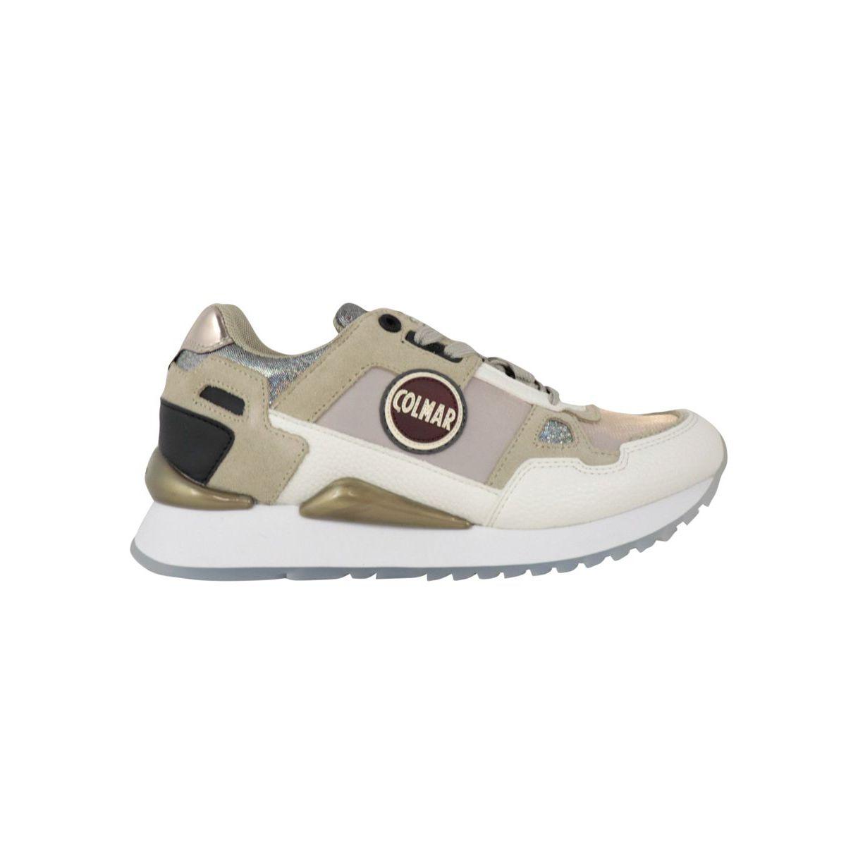Tayler bi-material sneakers with metallic details Beige Colmar Shoes