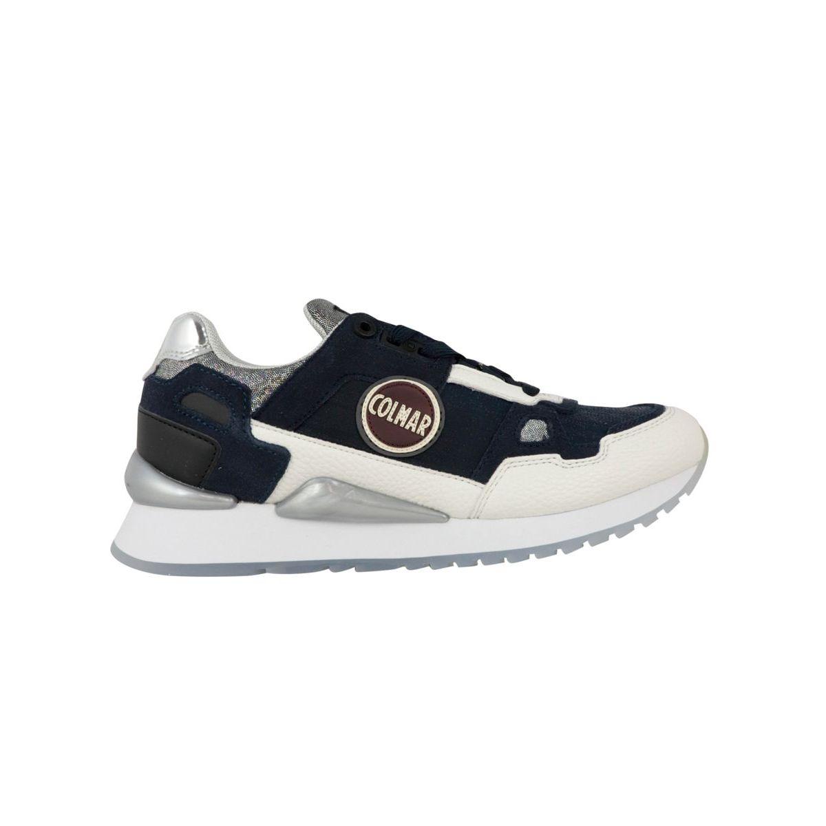 Tayler bi-material sneakers with metallic details Blue / silver Colmar Shoes