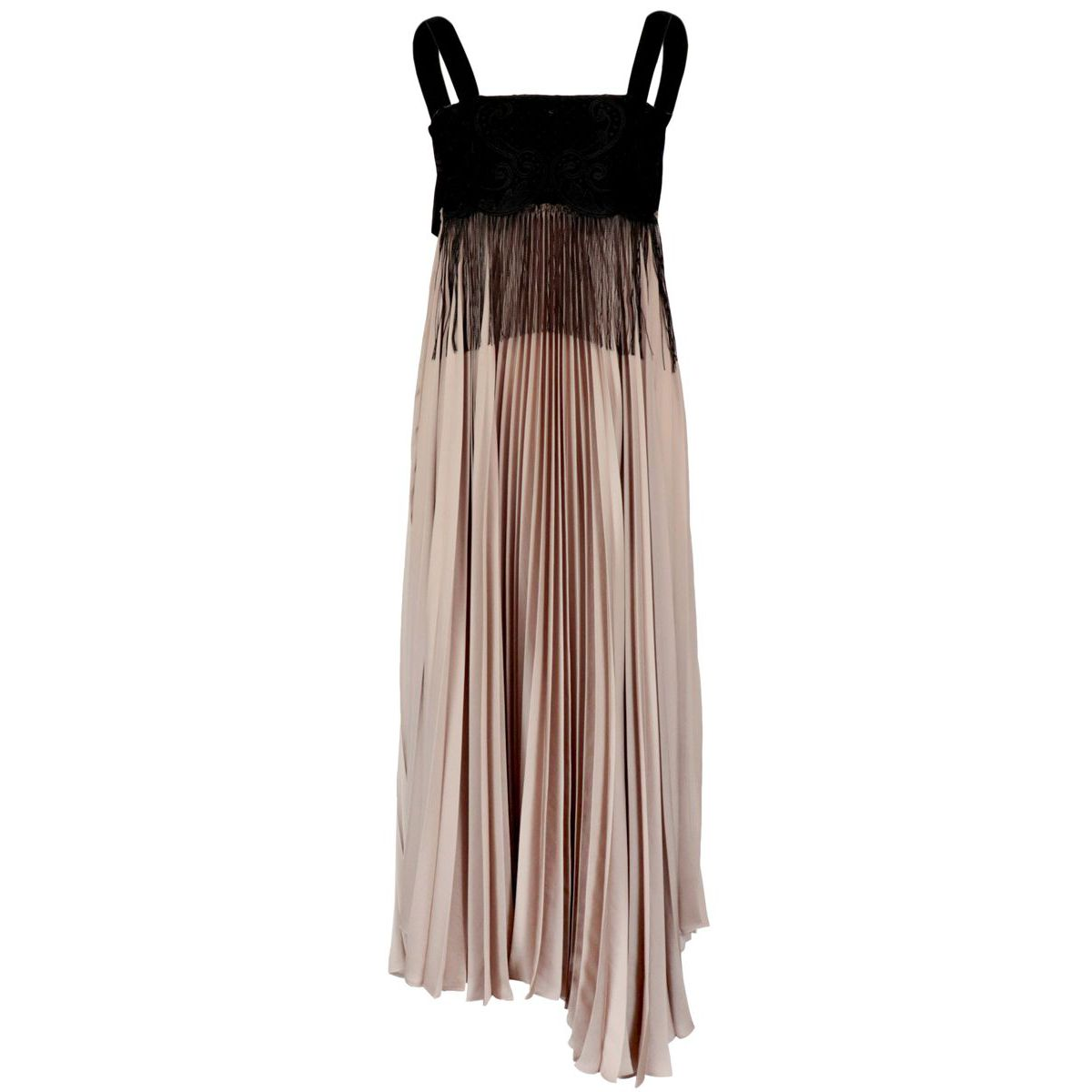 Gelatina dress in pleated satin with embroidered bodice Dusty pink Pinko