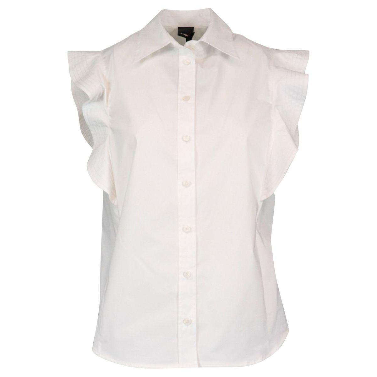 Stretch cotton Nakoma shirt with cap sleeves White Pinko