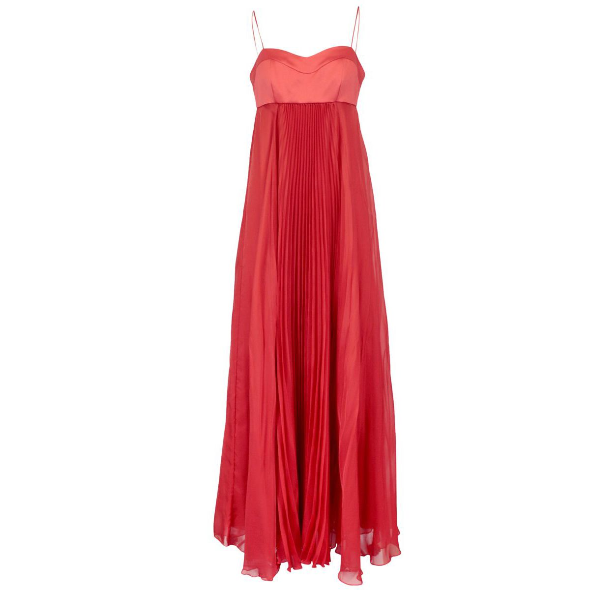 Long Bambi chiffon dress with sweetheart neckline and pleated skirt Red Pinko