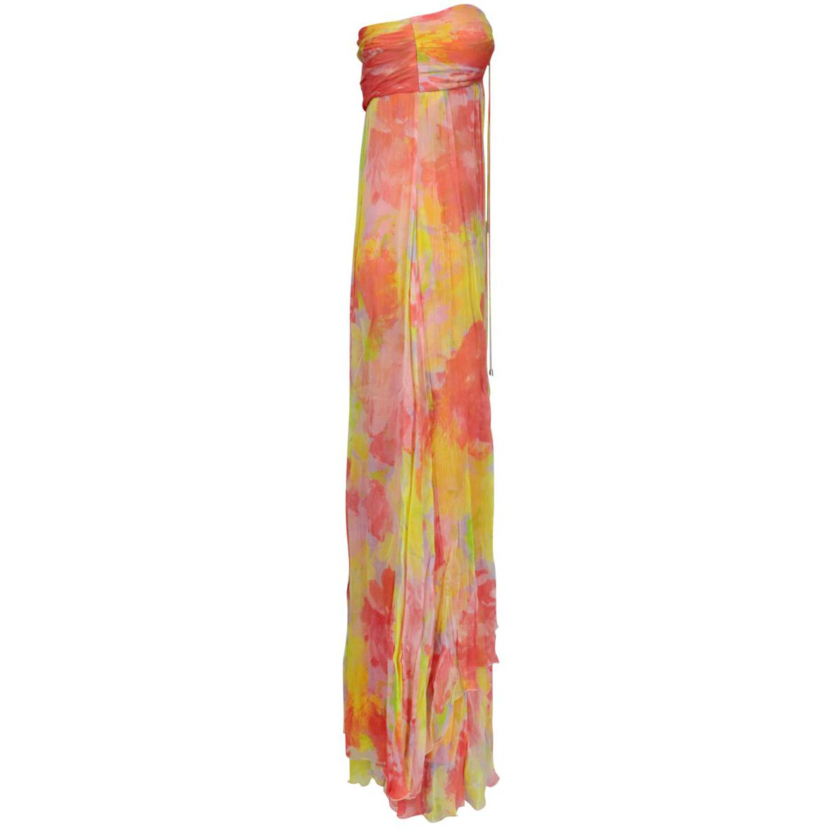 Long Mulan 1 dress in viscose with floral print Pink / yellow Pinko