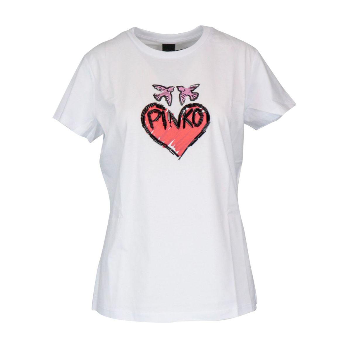 Sallie cotton T-shirt with logo and beads print White Pinko