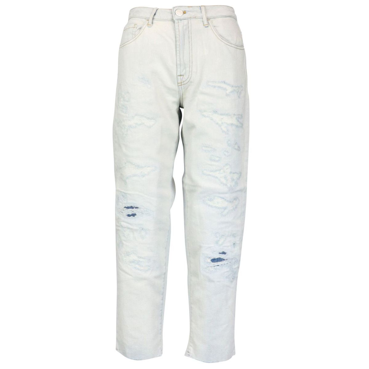 Maddie 1 Mom PJ91 jeans in cotton with rips Light denim Pinko