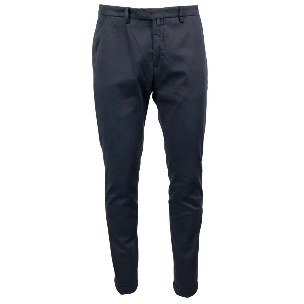 Stretch cotton trousers with turn on the bottom Navy Briglia