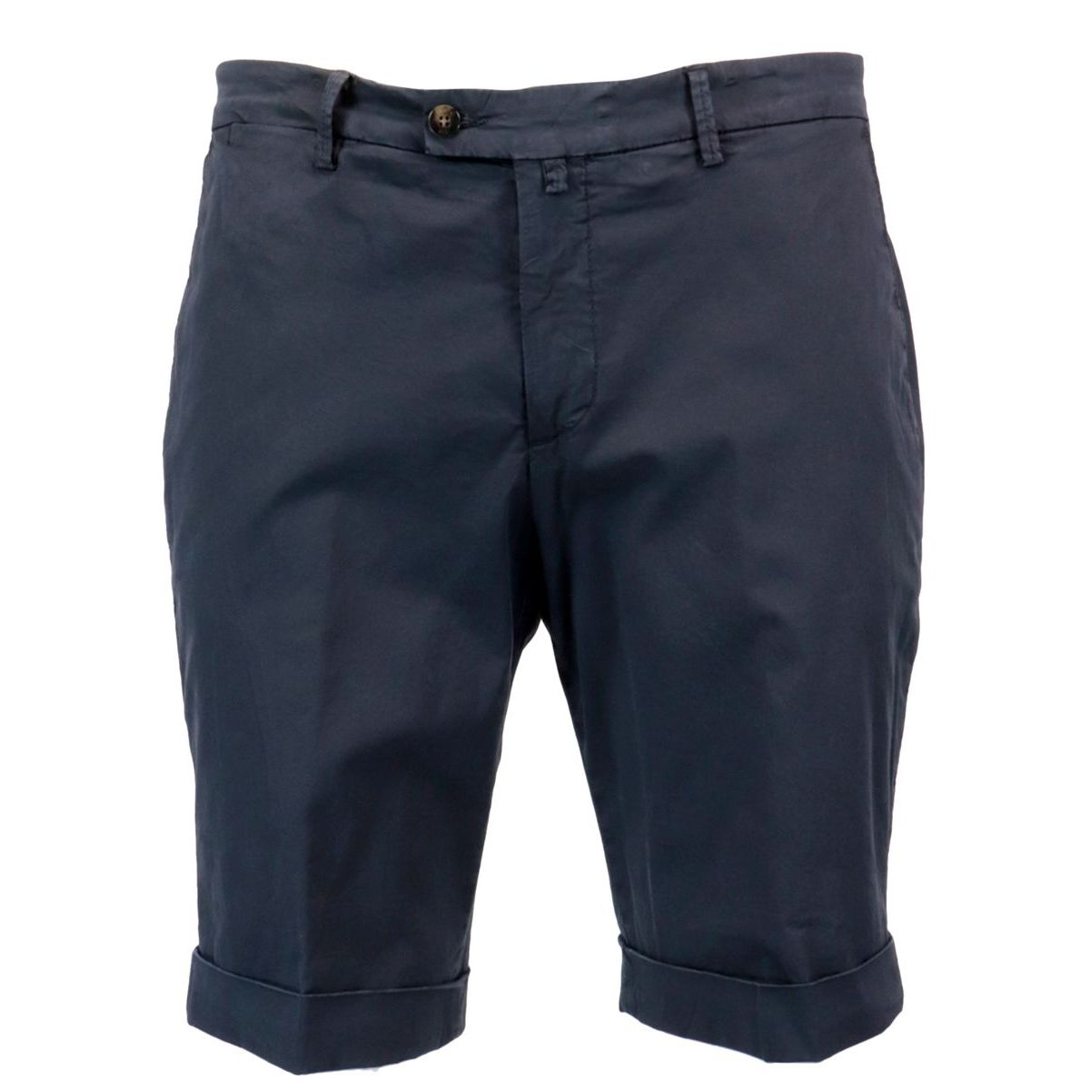 Cotton bermuda with solid color turn-up Navy Briglia