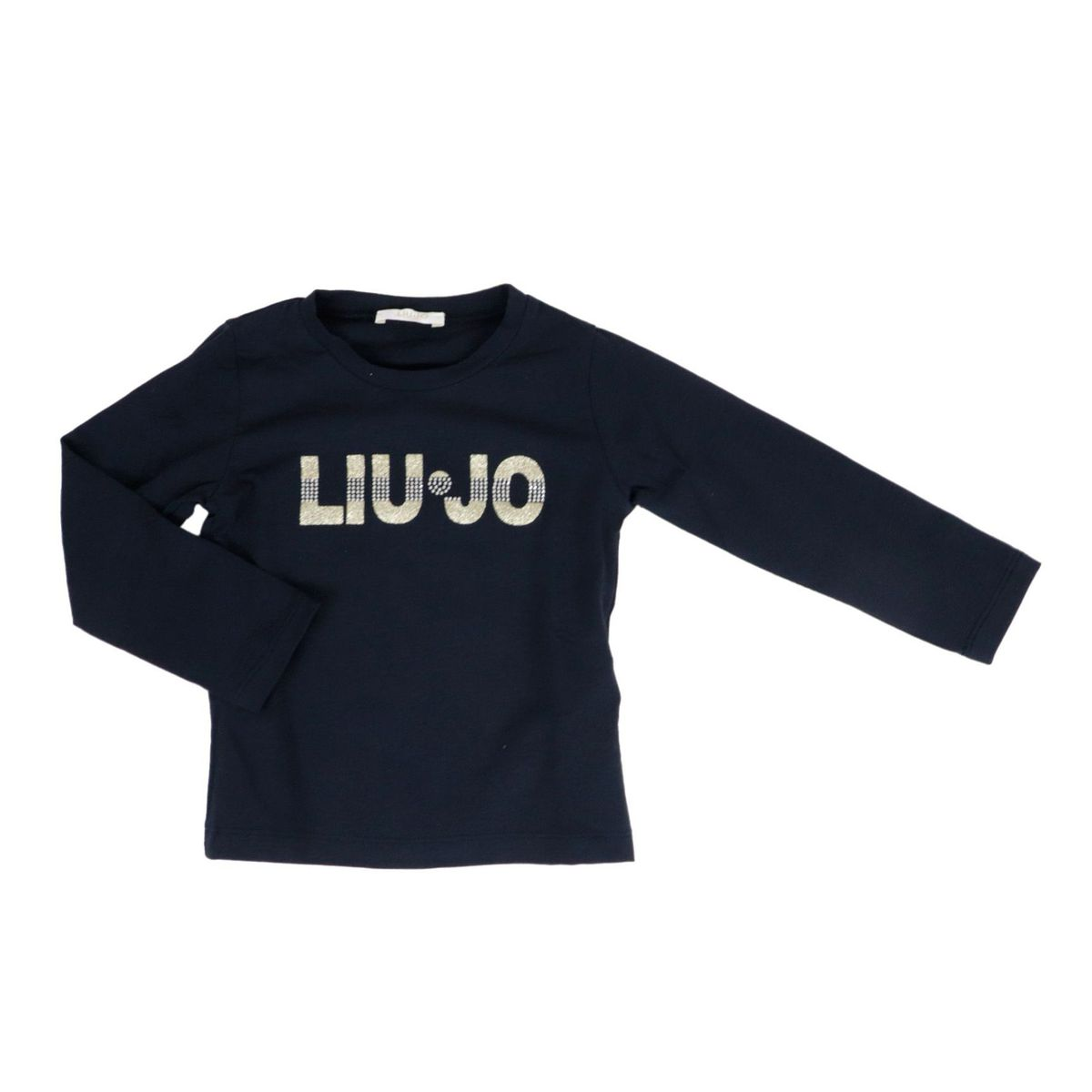 Long-sleeved cotton T-shirt with glitter logo Blue Liu Jo