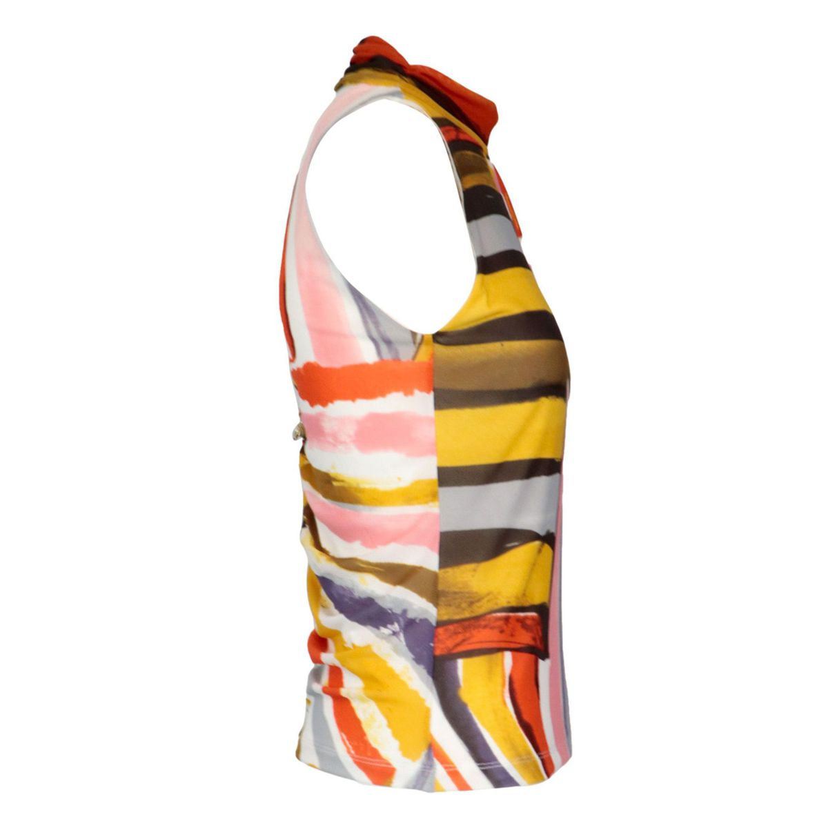 Sleeveless top in jersey effect tulle Colorful print Patrizia Pepe