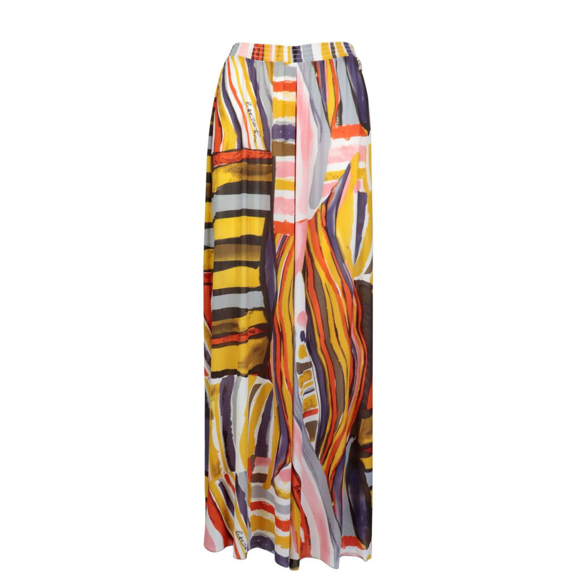 Wide trousers in jersey effect tulle Colorful print Patrizia Pepe