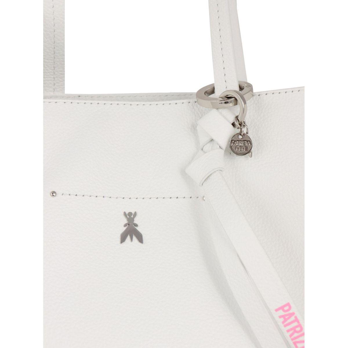 Leather shopper bag with metallic Fly logo White Patrizia Pepe