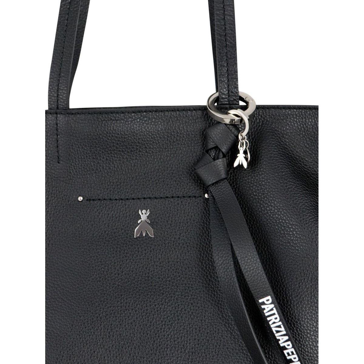 Leather shopper bag with metallic Fly logo Black Patrizia Pepe