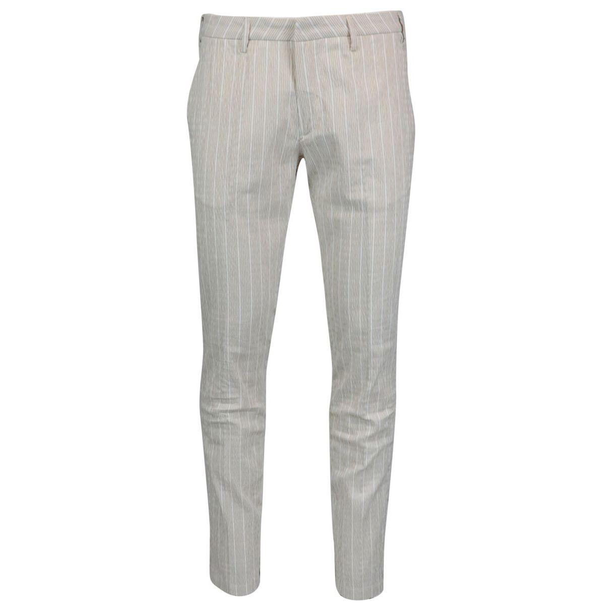 Slim trousers in seersucker cotton Beige Baronio