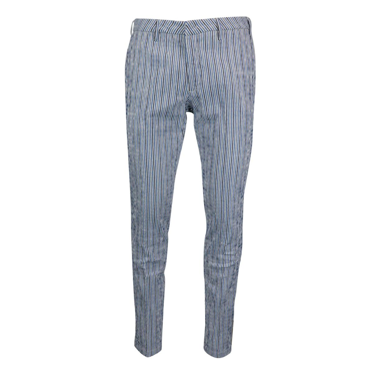 Slim-fit striped seersucker cotton trousers White / blue Baronio