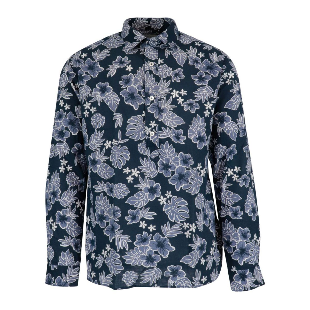 Regular-fit shirt in three-button cotton with French print and collar Navy Guglielminotti