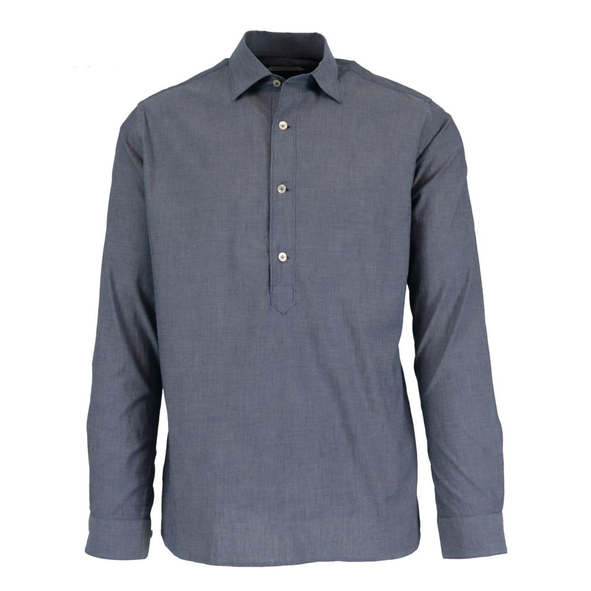 Regular-fit shirt in three-button cotton denim with French collar Denim Guglielminotti