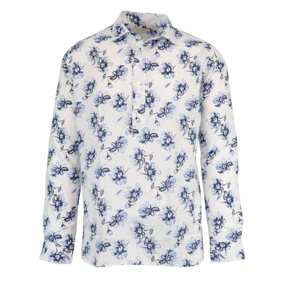 Regular-fit shirt in three-button cotton and linen blend with French print and collar White Guglielminotti