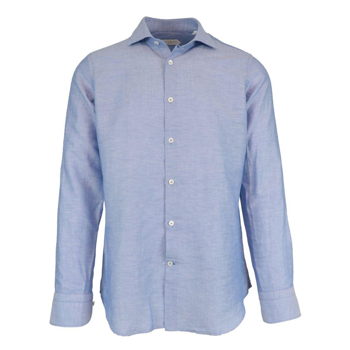 Regular-fit shirt in cotton and linen blend with French collar Light blue Guglielminotti