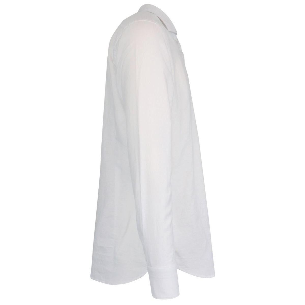 Regular-fit shirt in cotton and linen blend with French collar White Guglielminotti