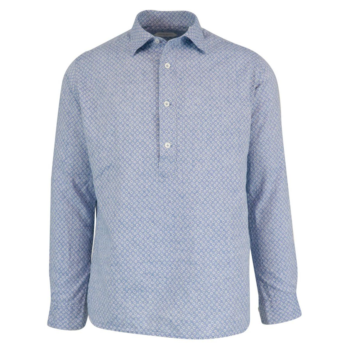 Regular-fit shirt in three-button cotton blend with French print and collar Light blue Guglielminotti