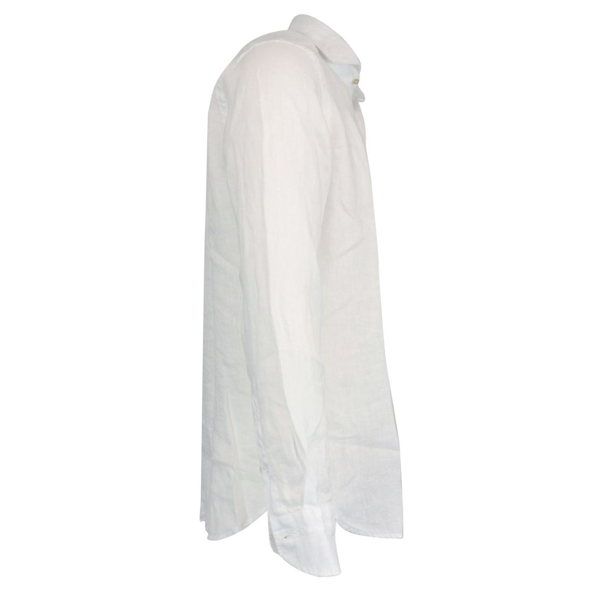 Regular-fit linen shirt with regular French collar White Guglielminotti
