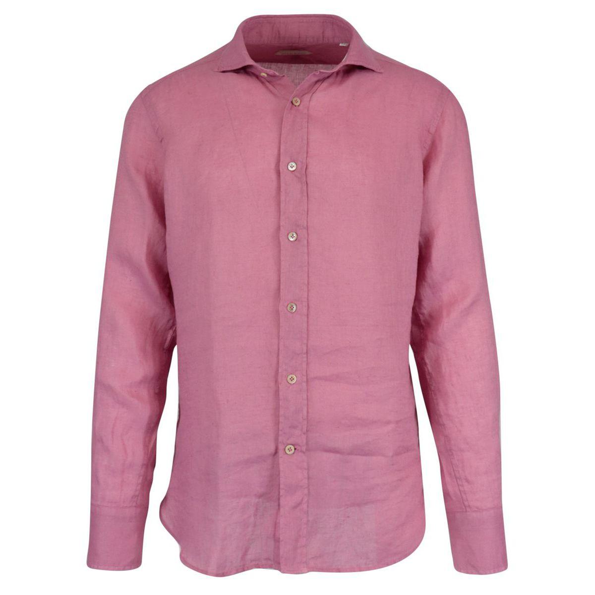 Regular-fit linen shirt with regular French collar Cyclamen Guglielminotti