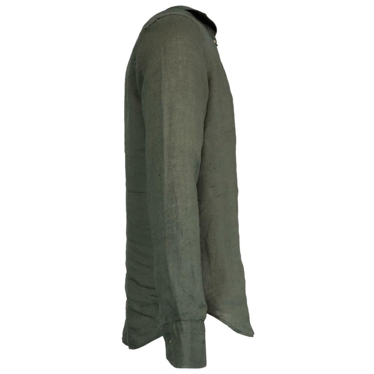Regular-fit linen shirt with regular French collar Military Guglielminotti