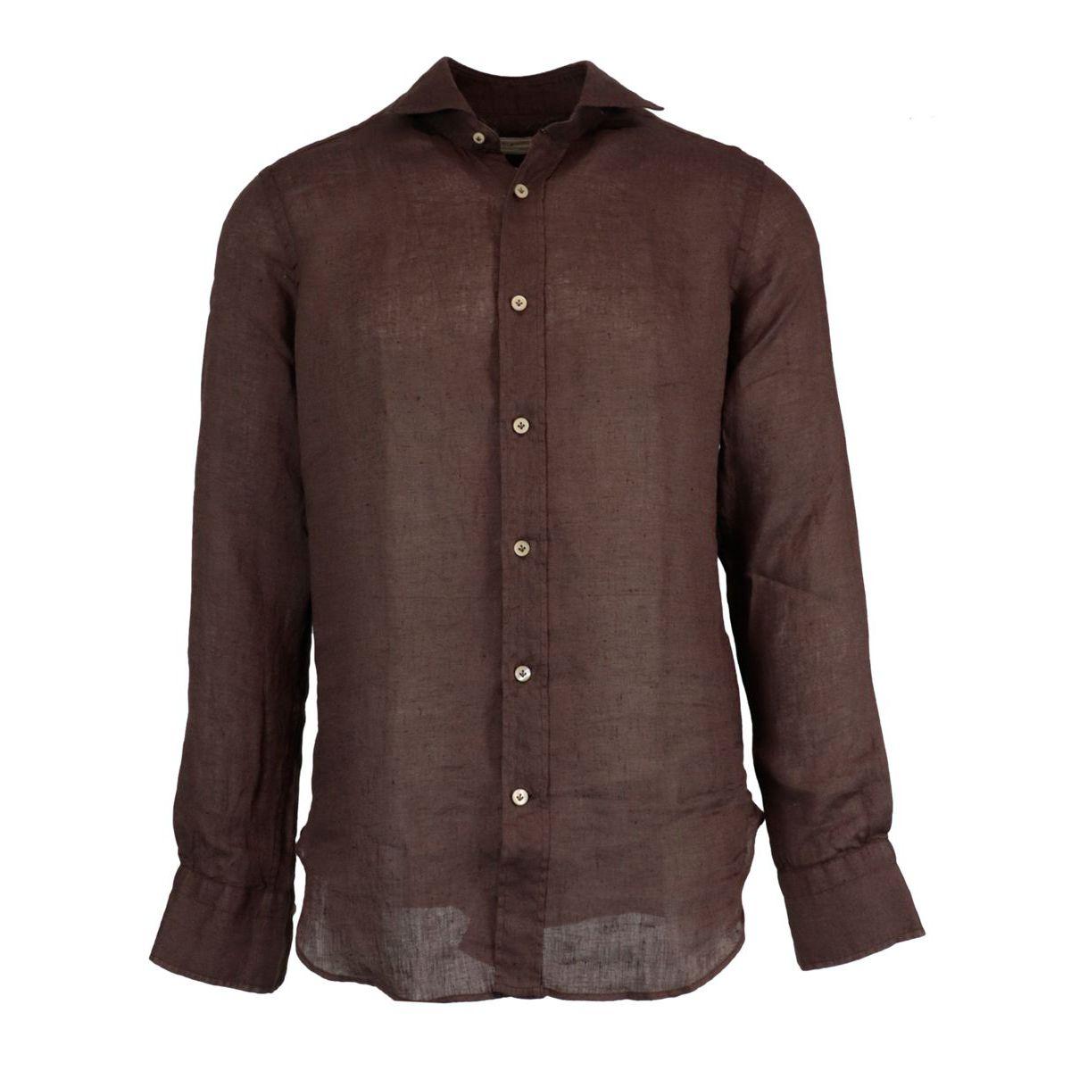Regular-fit linen shirt with regular French collar Moro Guglielminotti