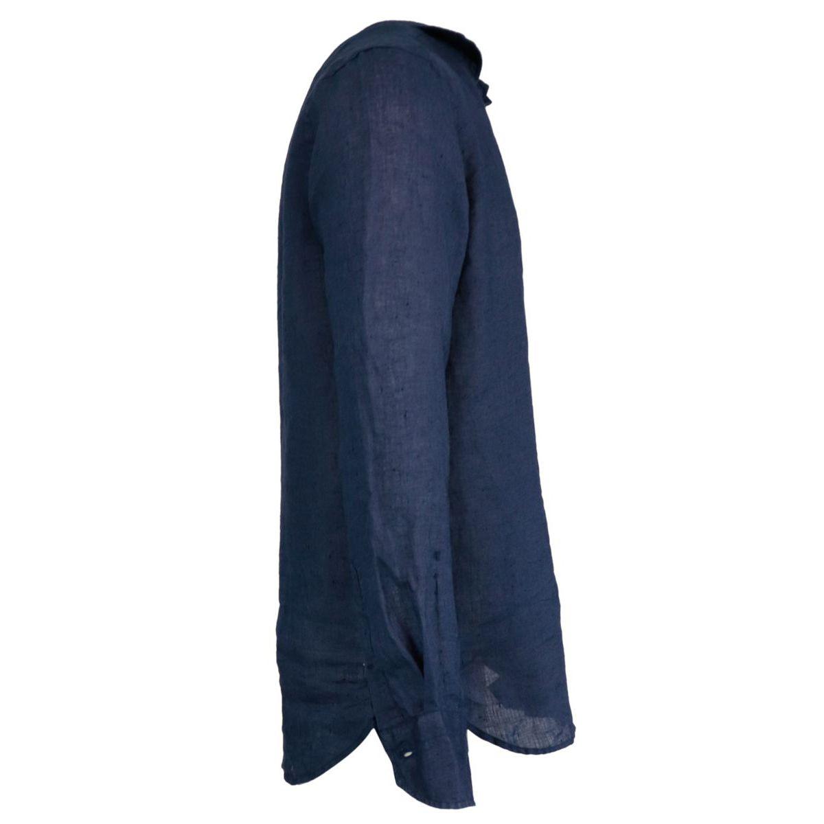 Regular-fit linen shirt with regular French collar Navy Guglielminotti