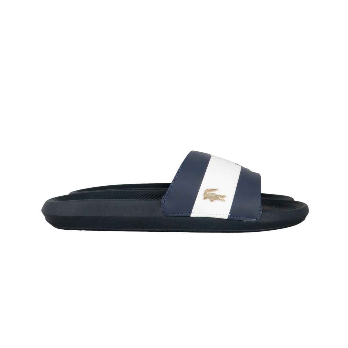 Synthetic slippers with metallic logo Blue Lacoste