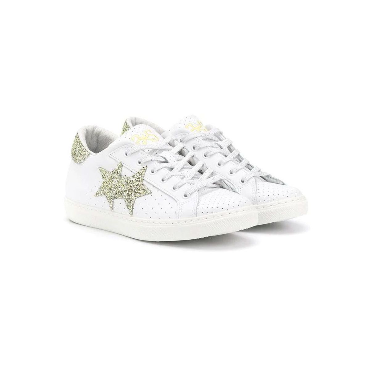 Leather sneakers with gold stars White gold 2Star