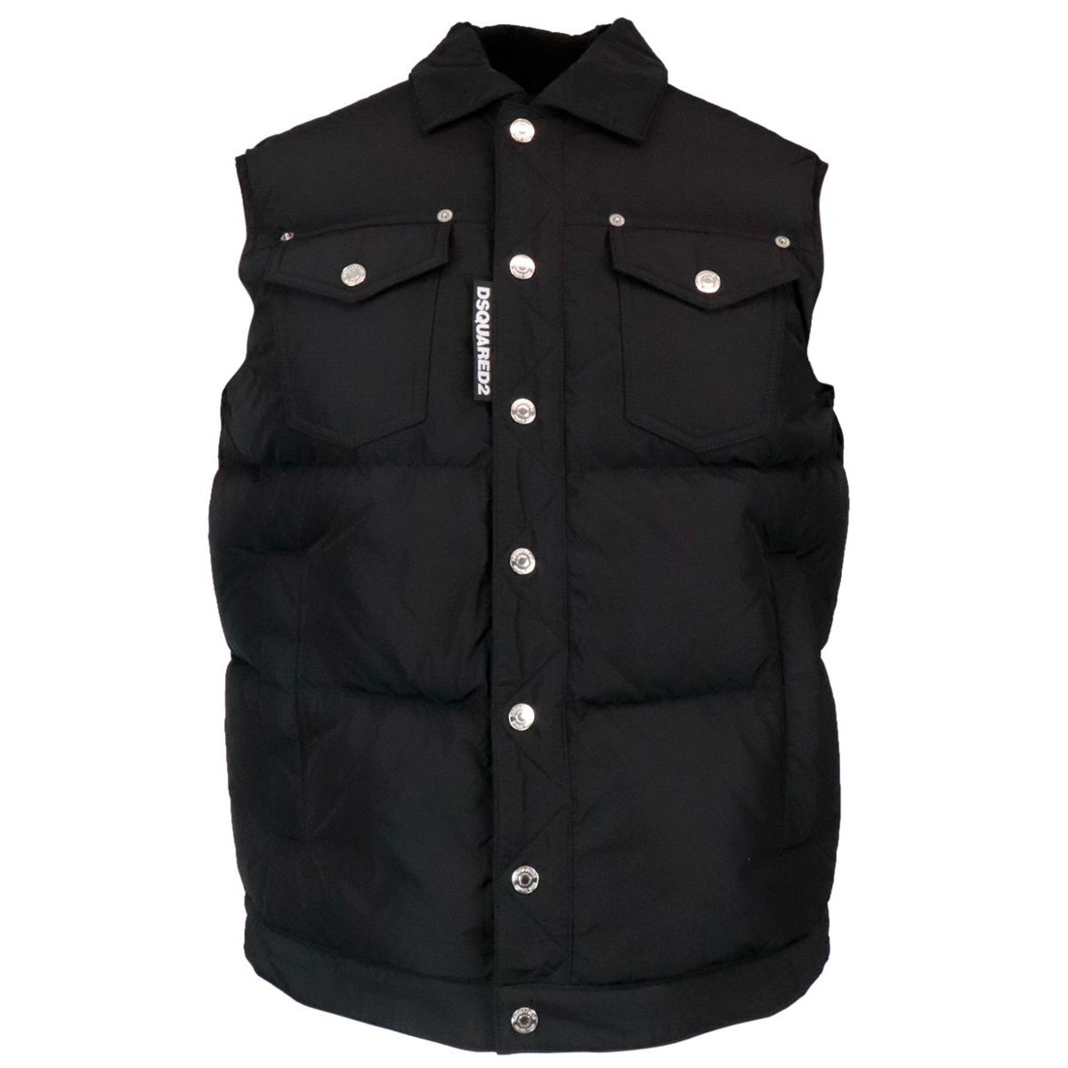 Padded waistcoat jacket with patch pockets Black Dsquared2