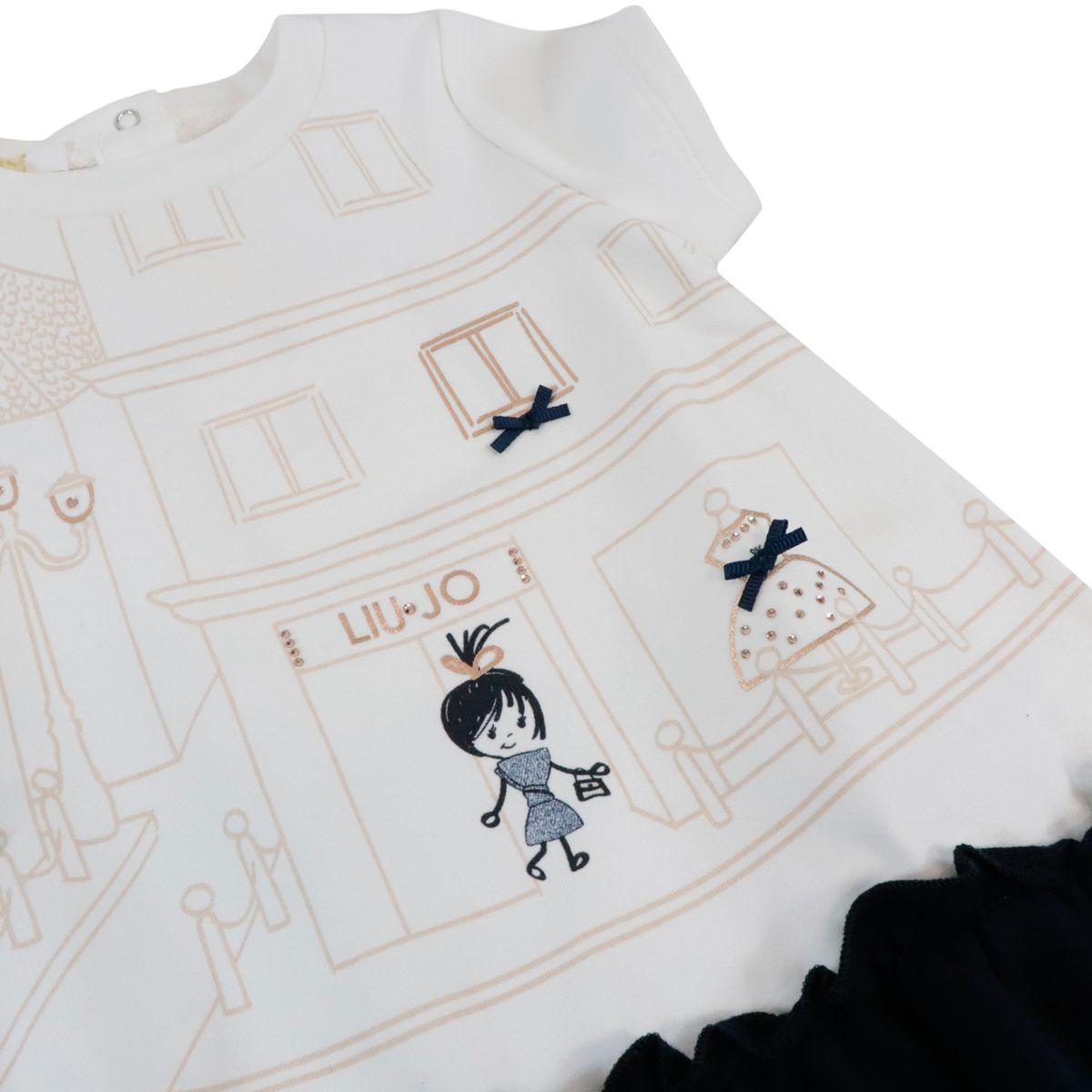 Short-sleeved light fleece dress White / blue Liu Jo