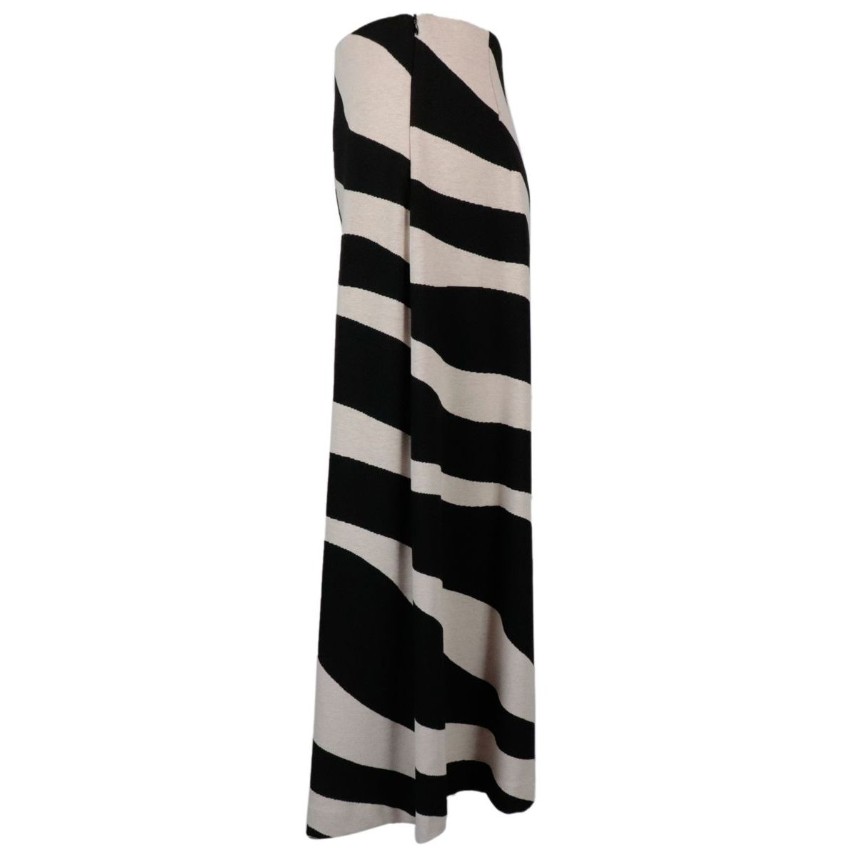 Cropped Lute trousers in viscose knit effect Powder / black Max Mara