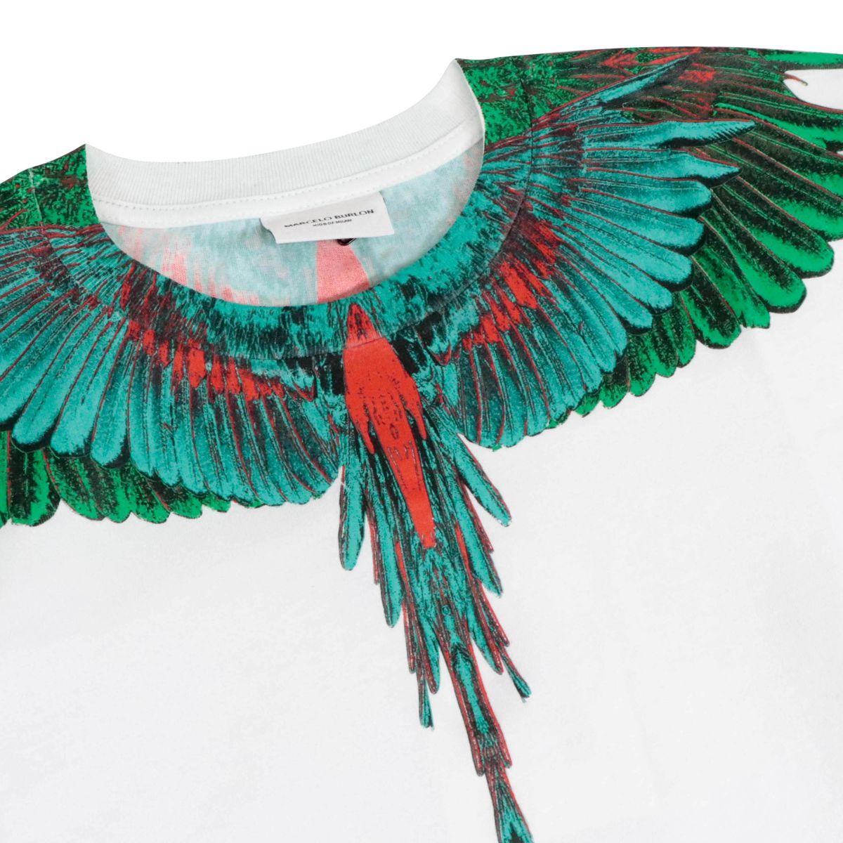T-shirt in cotone green wings Bianco MARCELO BURLON