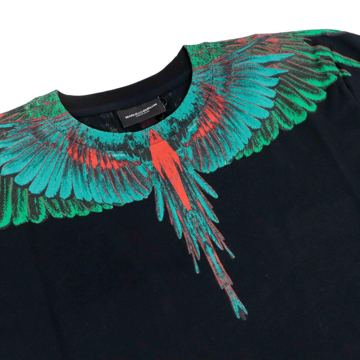 Green wings cotton t-shirt Black MARCELO BURLON