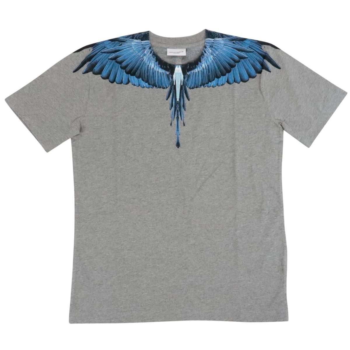 T-shirt a manica corta in cotone con stampa ali Grigio MARCELO BURLON