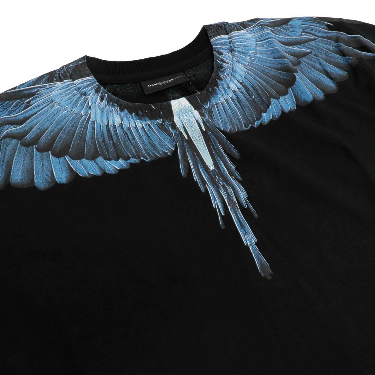 T-shirt a manica corta in cotone con stampa ali Nero MARCELO BURLON