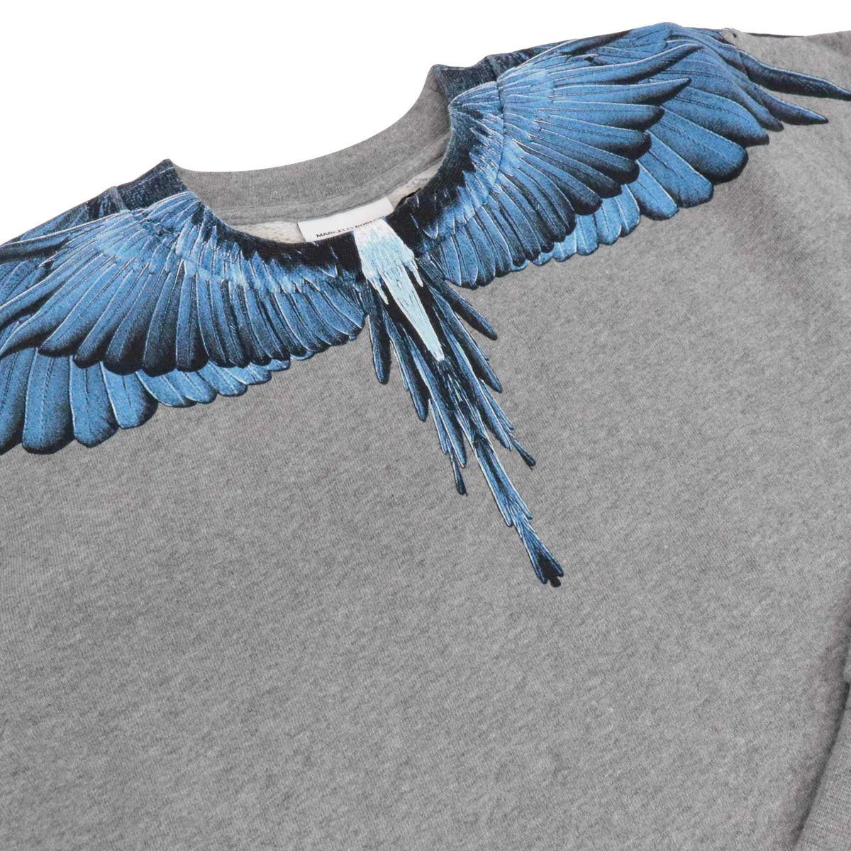 Felpa girocollo in misto cotone con stampa ali blu Grigio MARCELO BURLON
