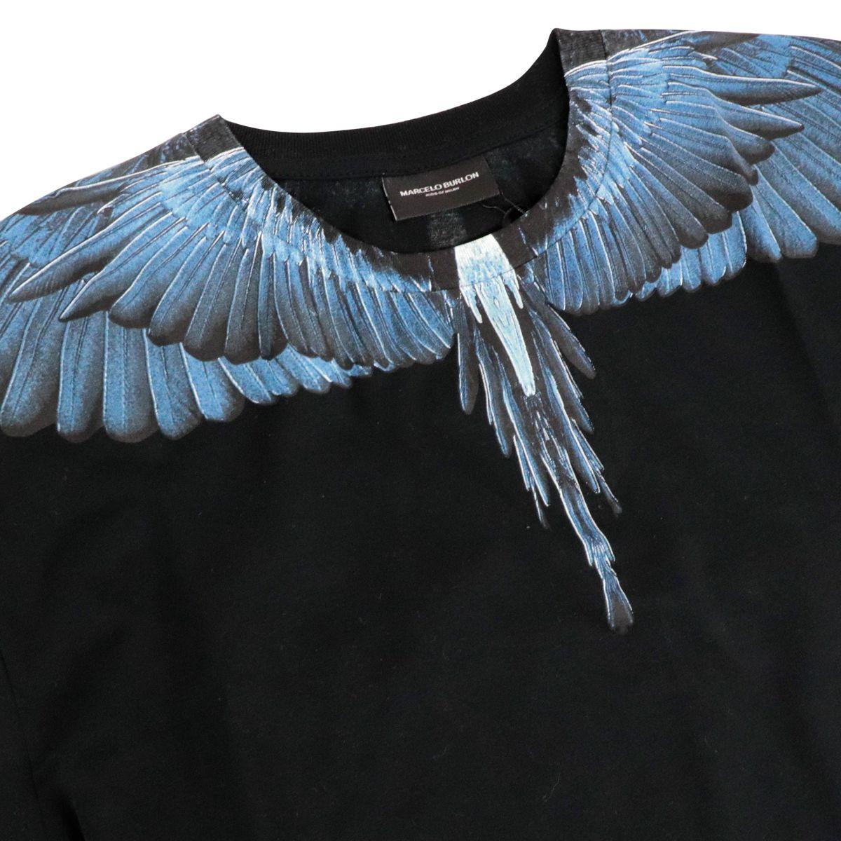 T-shirt in cotone con doppia manica e stampa ali Nero MARCELO BURLON