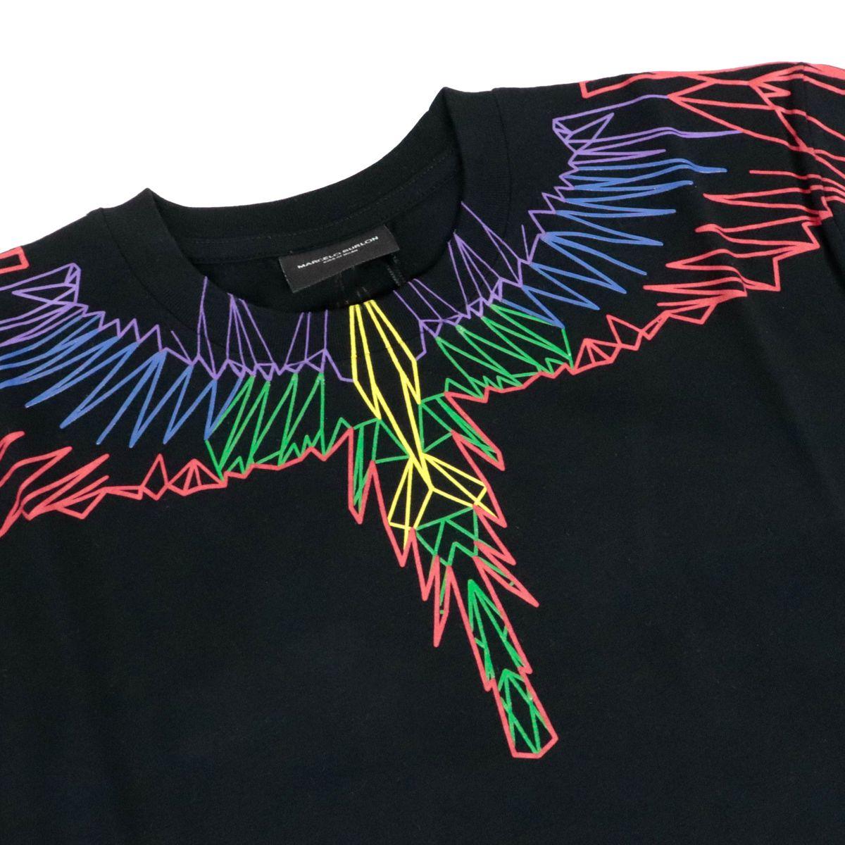 T-shirt in cotone con stampa ali neon Nero MARCELO BURLON