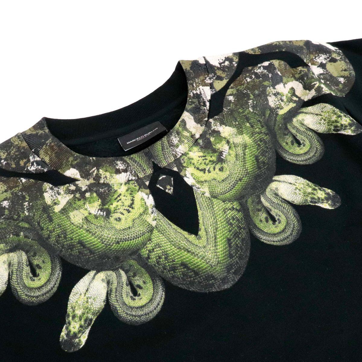 Felpa girocollo in misto cotone con stampa serpente camouflage Nero MARCELO BURLON