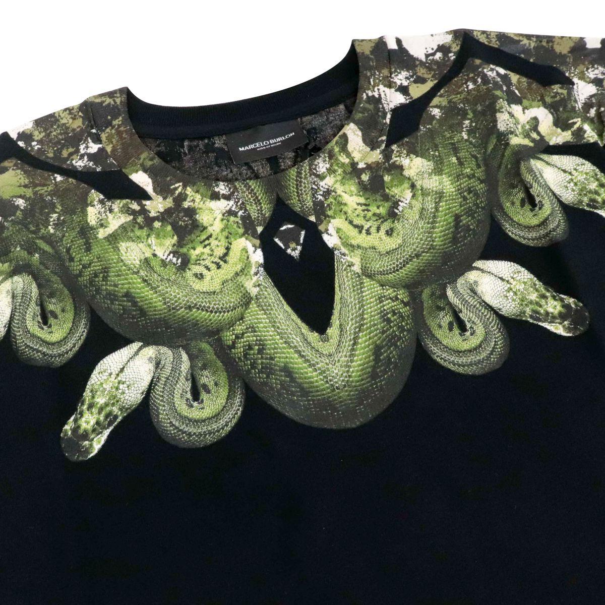 T-shirt in cotone con stampa serpente camouflage Nero MARCELO BURLON