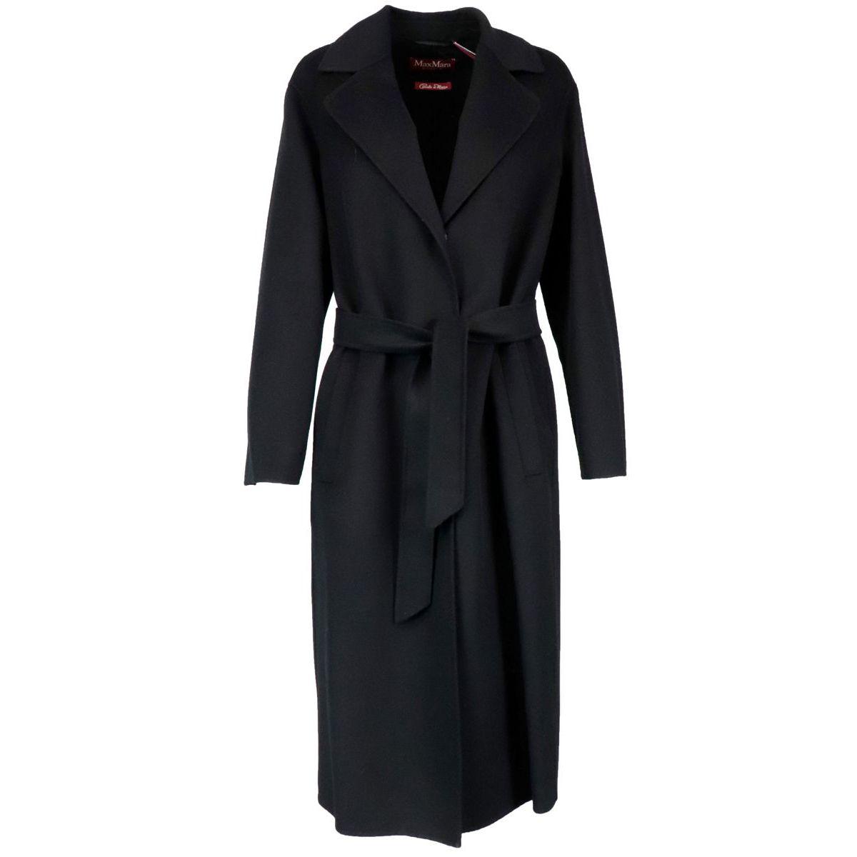 Belted Ermanna coat in wool blend Black MAX MARA STUDIO