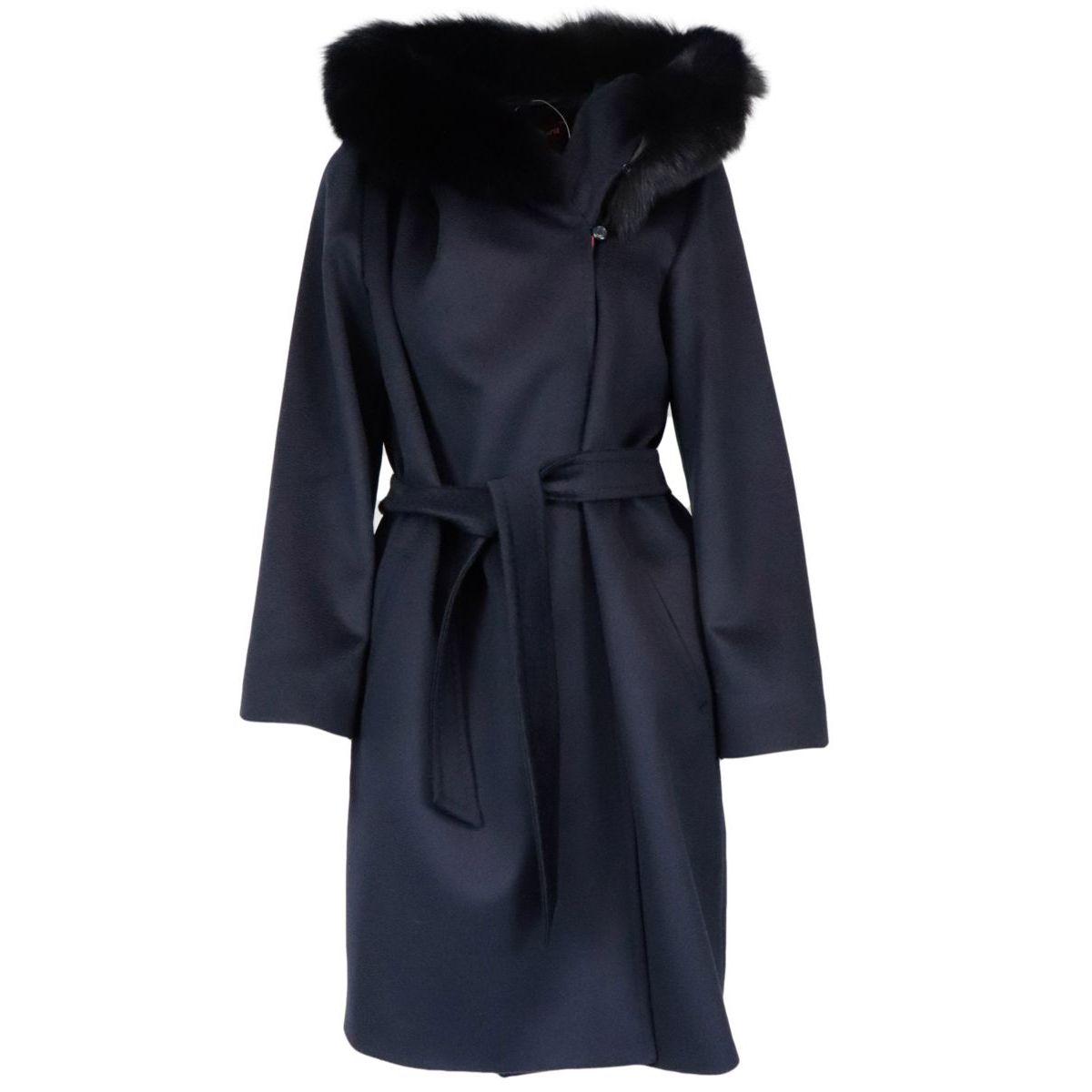 Mango wool coat with fur-trimmed hood Blue MAX MARA STUDIO