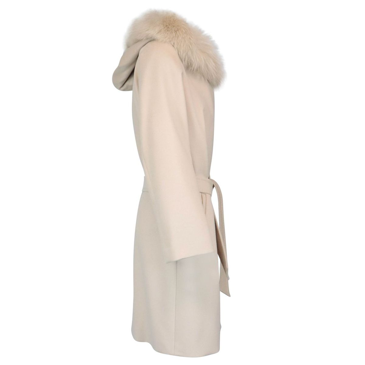 Mango wool coat with fur-trimmed hood Vanilla MAX MARA STUDIO