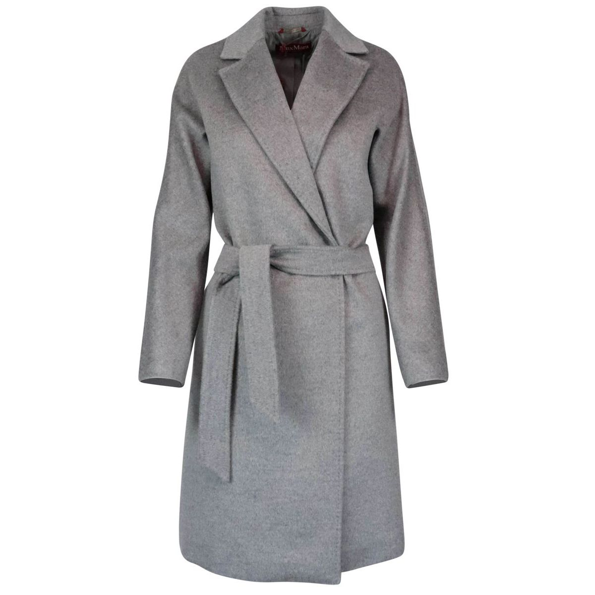 Luana belted coat in pure wool Medium gray MAX MARA STUDIO