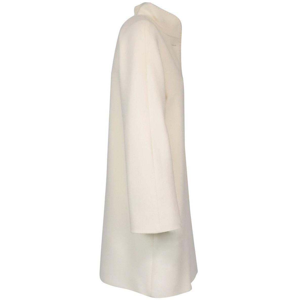 Coat with standing collar Zenit in virgin wool Cream MAX MARA STUDIO