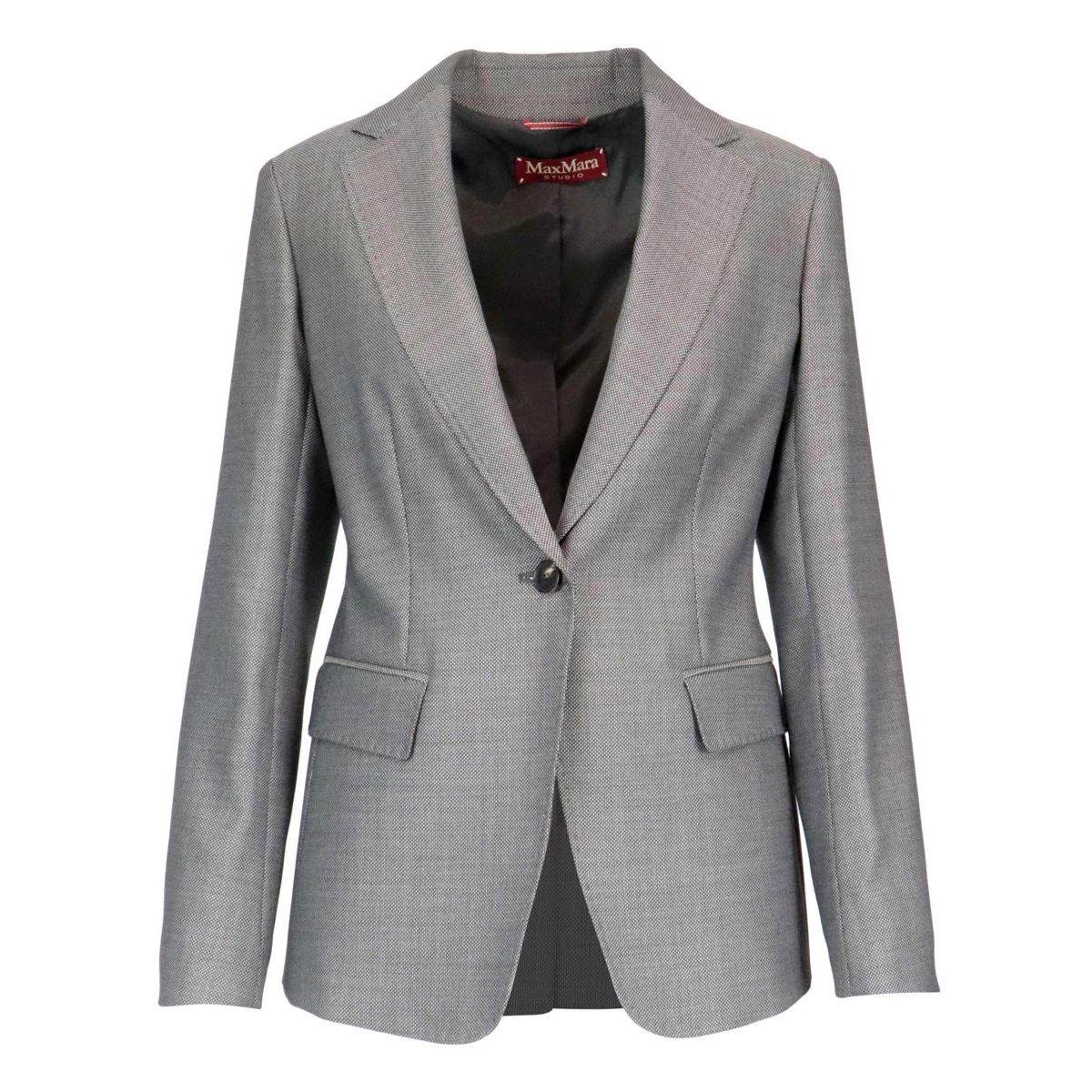 Japoco wool and silk jacket Vichy black / white MAX MARA STUDIO